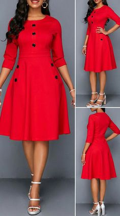 Button Embellished Red Pocket A Line Dress HOT SALES beautiful dresses, pretty dresses, holida Dresses Elegant, Simple Dresses, Pretty Dresses, Sexy Dresses, Beautiful Dresses, Casual Dresses, Red Dresses For Women, Mini Dresses, African Wear Dresses