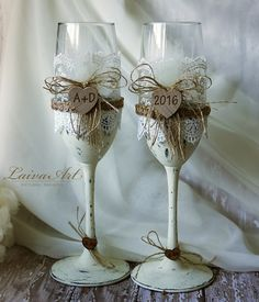 Rustic Personalized Wedding Champagne Flutes Rustic by LaivaArt