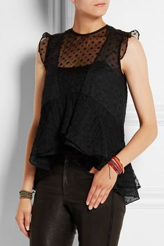 Isabel Marant | Vatelle embroidered silk-georgette and cotton-voile top | NET-A-PORTER.COM