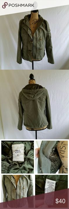"""Old Navy Olive Utility Jacket Gently used . Full zip with clip Buckles for closure . Hood with stretchy drawstrings .  Does have button in spots for fur hood attachment . Fur not included . Quilted inner for warmth . Pit to pit approx 19"""" Length approx 23"""" Arm length approx 24""""  #100509 Old Navy Jackets & Coats Utility Jackets"""