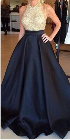 Hot Sales Black Ball Gown Prom Dresses With Pocket,Backless Champagne Bodice Evening Gowns,Open Back Halter Quinceanera Dresses