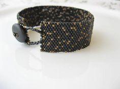 Black peyote stitch Bracelet  Black and gold Beaded by EsBello, $32.00