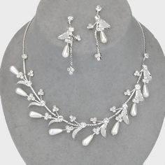 Glamorous white faux pearl diamante necklace set perfect for brides and special occasions