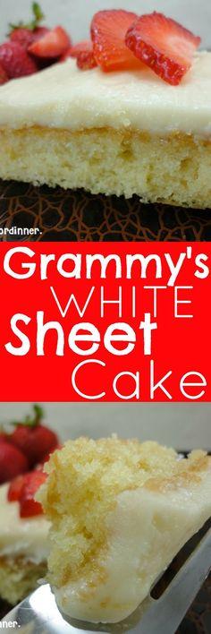 Eat Cake For Dinner: Grammy's White Sheet Cake Sheet Cake Recipes, Frosting Recipes, Cupcake Recipes, Dessert Recipes, White Sheet Cakes, White Texas Sheet Cake, Texas Sheet Cakes, Köstliche Desserts, Delicious Desserts