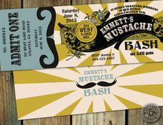 Mustache Bash themed costume Birthday Party invitation admission ticket - retro sign, steampunk and vintage inspired