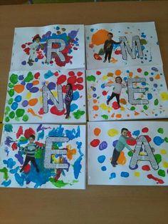 30 ideas to reinforce numbers, letters and geometric shapes. Preschool Names, Name Activities, Preschool Letters, Preschool Curriculum, Kindergarten Art, Toddler Activities, Preschool Activities, All About Me Preschool Theme, Alphabet Crafts