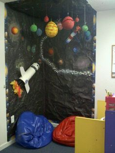 """Space story corner/ role play, include """"reading rockets"""" signs and labels. Encouraging social skills, letter recognition and reading. Space Theme Classroom, Classroom Organisation, Classroom Decor, Science Classroom, Space Preschool, Space Activities, School Displays, Classroom Displays, Outer Space Theme"""