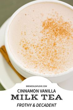 This frothy and decadent cinnamon vanilla milk tea recipe is so delicious and so. - This frothy and decadent cinnamon vanilla milk tea recipe is so delicious and so easy to make at ho - English Breakfast Tea, Milk Tea Recipes, Coffee Recipes, Moon Milk Recipe, Hot Milk Tea Recipe, Yummy Drinks, Healthy Drinks, Tea Drinks, Beverages