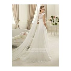 lace and chiffon wedding gowns   ...I love the Floral Decoration of the neckline