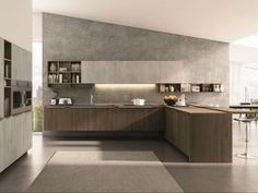 Euromobil Cucine is the Group brand dedicated to the production of modern creative kitchen furniture featuring design, planning ability and highly customizable solutions. Kitchen Peninsula, Modern Kitchen Island, Modern Kitchen Design, Luxury Kitchens, Home Kitchens, Kitchen Furniture, Kitchen Interior, Wooden Kitchen, Minimalist Kitchen