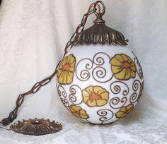 GENUINE VTG 60-70'S MODERN MID CENTURY GLOBE PENDANT SWAG LAMP FLOWER ART GLASS