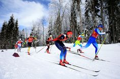 Anastasia Dotsenko (C) of Russia and Aino-Kaisa Saarinen of Finland lead a group during the Women's Team Sprint Classic Semifinals (c) Getty Images Cross Country Skiing, Finland, Anastasia, Russia, Group, Classic, Image, Derby, Classical Music