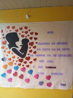 Mural para o Dia das Mães I Love Mom, Mothers Day Crafts, Fathers Day, Origami, Diy And Crafts, Doodles, Education, Party, Ideas