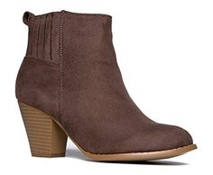 High Heel Suede Ankle Boot - Slip On Stacked Heel Bootie - Comfortable Walking Shoe - Keni by J Adams ** Check this awesome product by going to the link at the image.