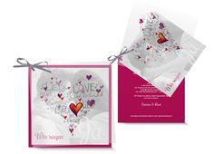 Hochzeitskarte «Love» mit Wörterherz auf transparentem Titelblatt, dahinter verschiedene Karten, mit Bändeli zusammengebunden