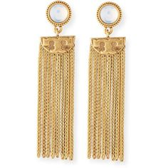 Tory Burch Coin Tassel Drop Earrings ($160) ❤ liked on Polyvore featuring jewelry, earrings, gold, fringe earrings, coin jewelry, round earrings, post earrings and tory burch