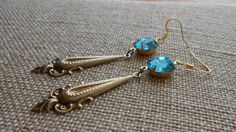 Antiqued Brass Drop Earrings with Vintage Swarovski by UrsyllaBs, $36.00