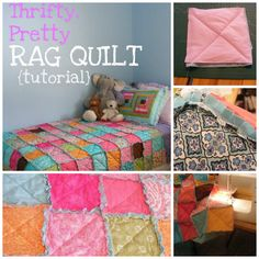 Easy and Thrifty Rag Quilt;  Fabric can be upcycled from clothing, other sheets, or other scraps or fabric sources.  Each square is individually constructed first, then attached to create the whole.
