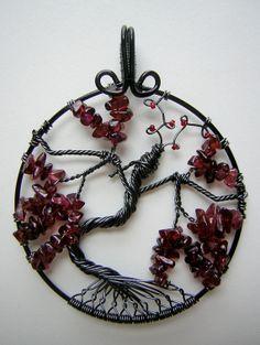 Unique Dragon Garnet Stones Tree of Life by RachaelsWireGarden, $60.00