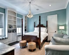 , Traditional Duck Egg Wall Bedroom Ideas With Luxury Teak Wood Single Bed Frame Also Rattan Pouffes Also Cream Rug Color Also Grey Modern Couch Also Small Bay Windows With Seat With Modern Retractable Curtains: Duck Egg Living Room & Duck Egg Bedroom Ideas