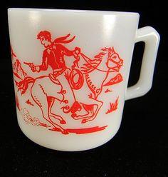Vintage Hazel Atlas Kiddie Ware Cowboy & Indian Milk Mug