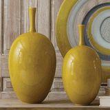 Limited Production Design & Stock: Ceramic Artisan Large Oval Bottle Vase * Solar Yellow Reactive Glazed Finish * 20 x 10 x 10 inches