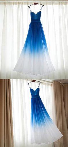 2018 Unique Lace Up V-neck long prom rdess, Gradient color chiffon prom dress, PD0413