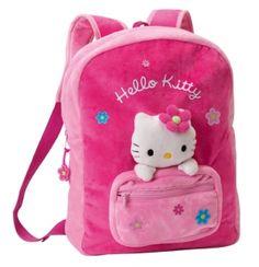 Magnifique #sac à dos #peluche Hello Kitty pour la crèche et maternelle. Avec la tête de hello kitty incrusté et en relief. 2 bretelles molletonnées pour plus de confort. Grand espace de stockage pour pour ne rien oublier lors d'un séjour chez papi et mami ou chez la nounou. #hellokitty
