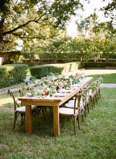 clean-lined farm table | Anna Routh + Graham Terhune #wedding