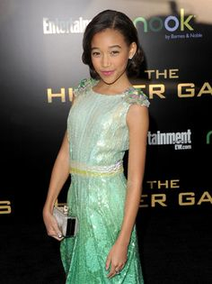 Amandla Stenberg (Rue) arrives at the red carpet premiere of The Hunger Games.