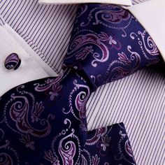 Amazon.com: Purple Mens Tie Wedding Tie For Men Indigo Paisley Woven Silk Tie Handkerchiefs Cufflinks Gift Box Set Y Fantastic Necktie Set H7013: Clothing