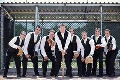 Baseball groomsmen dugout photo idea