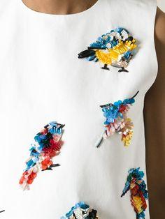 MSGM майка с декорированными птицами