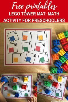 Lego Tower Mat Math Activity for Preschool Numbers Preschool, Learning Numbers, Preschool Math, Kindergarten Math, Teaching Math, Montessori Activities, Classroom Activities, Preschool Activities, Early Learning