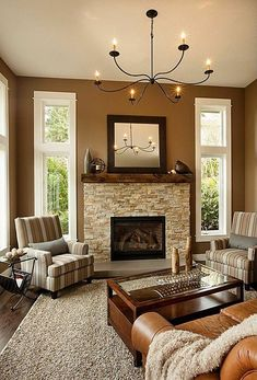 Traditional Living Room - Aged Bronze accents make a neutral room feel warmer. Iron elements, like the chandelier, tie the room together.
