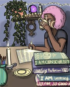 I understand that in every moment 🌱 I have a choice. ✍ To become more of who I aspire to be or allow my subconsious to rule. I cannot trust… Black Love Art, Black Girl Art, Art Girl, Black Girls, Henn Kim, Pen & Paper, Art Et Design, Black Artwork, Witch Art