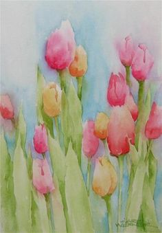 """Tulips"" - Original Fine Art for Sale - © Karen Werner"