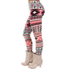 Chic Women's High Waist Geometrical Print Hit Color Leggings