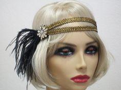 headband Flapper headband by bloomsfromtheheart Gatsby Man, Gatsby Style, Flapper Style, Great Gatsby Outfits, Great Gatsby Fashion, Gatsby Headband, Flapper Headpiece, 1920s Hair Accessories, Parisian Wedding
