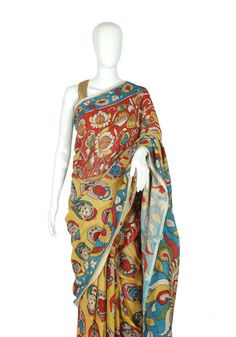 Silk Pen Kalamkari Saree – Desically Ethnic
