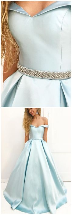 elegant off shoulder prom dress with beaded, dreamy blue evening gowns, simple ball gowns fo formal party.