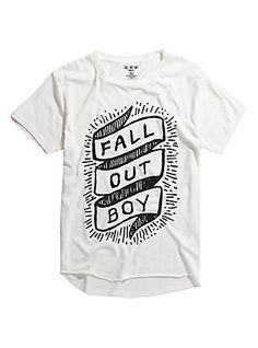 Fall Out Boy Banner Logo Raw Edge Tri-Blend T-Shirt, WHITE