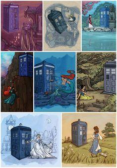 Pixar Disney Characters Princesses Doctor Who TARDIS Illustrations Karen Hallion rapunzel tangled alice in wonderland, mulan, merida disney pixar brave, cinderella belle beauty and the beast snow white