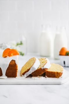Glazed Tangerine Cake | Browned Butter Blondie | A light and fluffy citrus cake recipe drizzled with a tangy yogurt glaze. This breakfast loaf infused with both tangerine juice and zest is the perfect addition to Sunday brunch. #loafcake #citrusrecipe