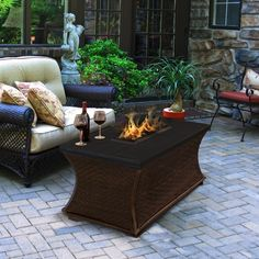 "Rectangular Top Fire Pit - Santa Cruz https://www.studio9furniture.com/outdoor/fire-pits-bowls-glass/high-quality-fire-pits-fire-pit-tables/santa-cruz-rectangle-fire-pit-gfrc-top  This fire pit has also a complimentary bag of 1/2"" clear fire glass aside from the comfort it can give you."