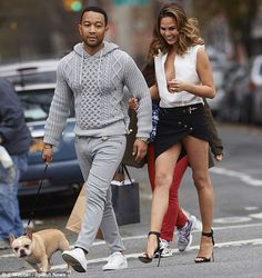 Exciting day: It was announced that Chrissy's husband John Legend, left, was nominated for. Chrissy Teign, John Legend, Celebrity Couples, Skin Tight, Mom And Dad, Dads, Trousers, Husband