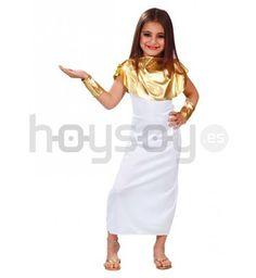 Sencillo #disfraz de #griega para #niña, recrea la Grecia clásica en #carnaval o fiestas escolares. Este disfraz consta de un vestido blanco largo, unos brazaletes dorados y un cuello dorado brillante #Disfraces