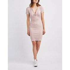 Pink Ribbed Tie-Neck Bodycon Dress - Size