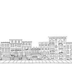 Custom Brownstone Building Block City Illustrated by mantamui.