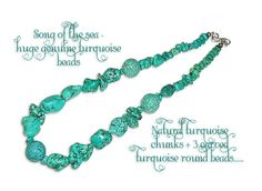 chunky luscious turquoise beads with central hand carved focal bead